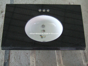 China Black Granite Vanity Top para Bathroom