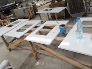 Quartz artificial White con el Contador-Top de Glass