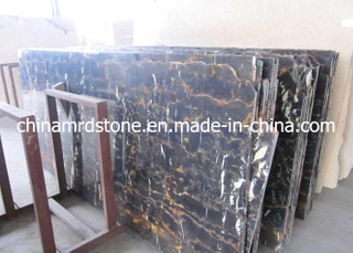 Natural Polished Black Portoro Marble para Hotel Flooring Tile