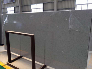 Quartz popular Stone Big Slabs con Grey Color