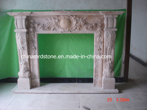 Mano Carved Beige Limestone Fireplace para Antique Style