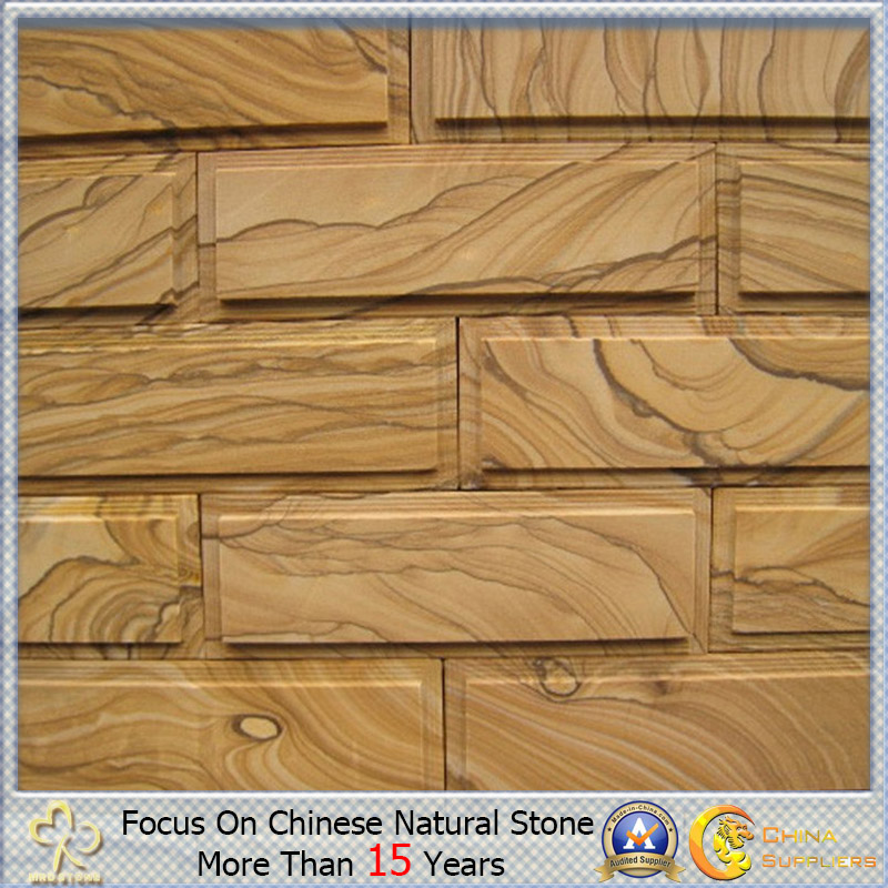 Wooden natural Yellow/White Sandstone para Cladding y Wall